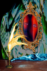 Dark Mirror 2 (lisaleo2) Tags: collage photomanipulation dark mirror eyes candle transformation spirit surrealism magic surreal flame fantasy photomontage photocollage