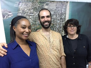 Exhibition and artist relations manager Cherese Crockett with ArtCenter South Florida resident artists Alan Gutierrez and Laurencia Strauss.