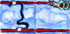 der Strom floss von Plus nach Minus und die Straßenbahn bewegte sich Richtung Grünwald (raumoberbayern) Tags: station bahnhof sketchbook skizzenbuch tram munich bus strasenbahn pencil bleistift ballpoint paper papier robbbilder stadt city landschaft landscape spring frühling summer sommer trip germany münchen oberleitung catenary