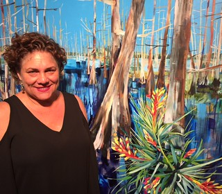 Artist Jacqueline Roch at the opening of her show Wild Oasis In the Swenson Gallery at the Bakehouse Art Complex