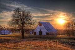 Missouri Barn at Sunset (LarryHB) Tags: explore hdr color horizontal photography agriculture farm field old scenic capegirardeaucounty missouri winter barn 2017 dusk landscape larrybraunphotography white