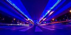 blue hour (christophhornung142) Tags: night lowlight asia city citylive nightlive streetart bridge blue violet vibrant colorful speed lighttrails symetric architecture china shanghai bluebridge