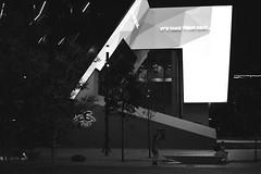 ICS - Night shot - entrance of exhibition centre - Autumn 2017 (BW) (nicephotog) Tags: nightonearth night ics haymarket nsw lights sign courtyard public building architecture