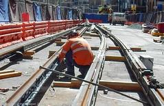 CBD & South East Light Rail - George Street - Update 14 Apil 2017 (1) (john cowper) Tags: cselr georgestreet grosvenorstreet bridgestreet bondstreet jamiesonstreet goodfriday tracklaying sydneylightrail alignment altrac alstom transportfornsw infrastructure sydney newsouthwales