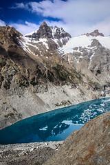 Laguna Sucia (robertdownie) Tags: sky lake mountains water reflection blue clouds rock snow smoking mountain ice aqua patagonia laguna argentina monte cerro chalten roy argentine fitz sucia