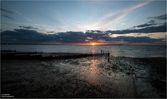 ----------O----- (Kevin HARWIN) Tags: water sea beach sand waves sun sunset orange red blue sky clouds canon eos 70d sigma 1020mm lens whitstable bubble south east uk england britain people