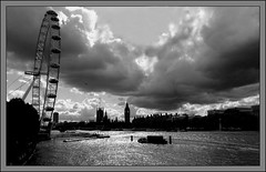 The Clouds Gathered Over Westminster (Vide Cor Meum Images) Tags: mac010665yahoocouk markcoleman markandrewcoleman videcormeumimages vide cor meum fuji fujifilm finepix hs20exr hs20 westminster london londoneye terrorism attack tribute solidarity mono bw thames bridge parliament british english england