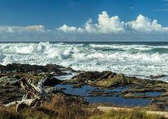 Oregon Coast (docoverachiever) Tags: clouds ocean landscape scenery nature water oregoncoast oregon seascape yachats driftwood rocks waves