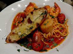 Cioppino (Coyoty) Tags: pondhousecafe hartford connecticut ct restaurant food elizabethpark white brown red westhartford bokeh cioppino seafood pasta grilled bread lobster lobstertail scallops shrimp crayfish crawfish crawdad crustaceans green spaghetti obligatory ogt ort owf sometimessavory