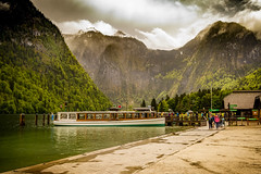 Konigssee (Trev Bowling) Tags: germany bavaria lake mere boat tourist mountain jetty mooring green snow trip holiday pier tour konigssee