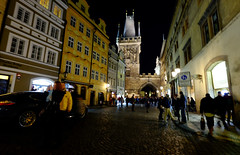 Old Town Prague at Night in the Czech Republic (` Toshio ') Tags: toshio czechrepublic europe czechia europeanunion european oldtown charlesbridge gatetower street city night people fujixe2 xe2