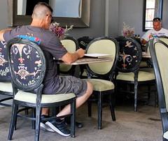 "Men seated, ""Jar Head""? (LarryJay99 ) Tags: neck man dude eatery male nape dudes seated photostream peekingpits guys guy restaurant unsuspecting queenofsheeba men arms candid cargoesinterior legs ethnicfood cargopants canonefs18135mmf3556is"