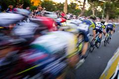 In a Flash (*ScottyO*) Tags: adelaide sa southaustralia australia tdu tourdownunder cycling bike bicycle race peleton blur motion sport action oricagreenedge oricascott road trees fast speed outdoor people crowd fans spectators