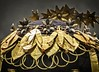 Closeup of Queen Puabi's gold headdress recovered from the royal cemetery of Ur, Iraq 2550-2450 BCE (mharrsch) Tags: queenpuabi gold lapislazuli carnelian headdress hairribbon wreath earring flower ur sumer mesopotamia iraq artifact ancient 3rdmilleniumbce 26thcenturybce 25thcenturybce pennmuseum philadelphia pennsylvania mharrsch
