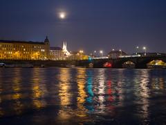 Colorful Night in Prague (Alex Fateyev) Tags: prague praha czechia czechrepublic vltava river reflection nightscape nightlights colors bridge cityscape architecture