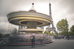 Spinning Paris (p__p) Tags: paris france carousel eiffel tower long exposure clouds lights lighttrail capital europe romantic touristic people tourists city sightseeing