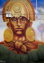 Modern day Inca (Leaning Ladder) Tags: peru cuzco cusco artisanmarket mural inca colors faces leaningladder canon 7d quechua paintings