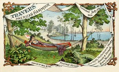 Travers American Hammock (Alan Mays) Tags: ephemera tradecards advertising advertisements ads paper printed traversamericanhammocks travers hammocks vincentptravers women clothes clothing dresses fans lyingdown reclining resting patents beaches shores seashores oceans lakes water trees leaves bucolic rustic illustrations borders logs branches wood wooden banners scrolls ribbons green blue brown 1879 1870s 1880s victorian 19thcentury nineteenthcentury antique old vintage typefaces type typography fonts hellerson printers lithographers