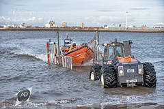 In the back of the net (alun.disley@ntlworld.com) Tags: lifeboat newbrighton rnli tractor trailor men volunteers rivermersey liverpool wirralmerseyside tyres industriallandscape seascape windfarm docks water portsandharbours shipping