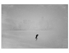 Another storm front (Tracy Linnel.) Tags: minimalism minimal fog grey blur skyline silhouette woman figure alone storm dust texture mono blackandwhite surreal sandstorm maximalminimalism atmosphere atmospheric weather blowing