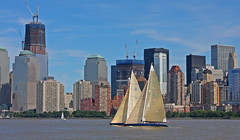 Sail Boat Race as seen from Liberty Park in Jersey City, NJ (6 of 6) (gg1electrice60) Tags: jerseycity newjersey nj libertystatepark libertypark historicplace newyorkharbor audreyzappdrive freedomway saltwater unitedstates us usa america welcomeimmigrants outdoor vessel boat ship sailboat brooklynskyline manhattenskyline newyork newyorkcity newyorkstate nyc sailingvessel sloop spinakar sails mainsail mast rigging people sailers cranes