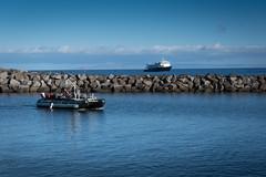 Our Taxi (helenehoffman) Tags: safariexplorer ocean sea sky boat rocks lanai hawaii skiff