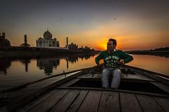 The Boatman - Agra, India (Kartik Kumar S) Tags: tajmahal taj agra uttarpradesh mehtab bagh sunrise clouds colors borders fences canon 600d tokina 1116mm sunset boat boatman rowing