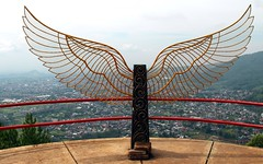 Gunung Banyak  ( Swan Mountain ) (Prayitno / Thank you for (12 millions +) view) Tags: konomark outdoor gunungbanyak batu pujon malang eastjava indonesia jawatimur hangglider hanggliding paralayang sport runway launcing pad day time wing wings metal ornament ornaments overview mountaintop cloudy