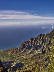 NaPali Coast of Kauai (AgarwalArun) Tags: sonya7m2 sonyilce7m2 hawaii kauai island landscape scenic nature views mountain fog clouds napalicoast pacificocean ocean water waves surf napali ruggedcoastline cliffs pu'uokilalookout