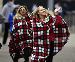 coldtemps-BR-040617_6391 (newspaper_guy Mike Orazzi) Tags: baseball 300mmf28dii fans plainvillehighschool bristoleasternhighschool sports d500 nikon sport blanket girls plaid blonde glasses wave red white black blondehair smile cold weather