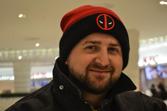 Happy Alex (Vegan Butterfly) Tags: man person face deadpool hat beanie beard happy happiness smile smiling