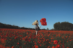 take me away (Anastasia Kosh) Tags: poppy flower red big girl dress selfportrait conceptual run free spring flowers fire landscape surreal nature outdoor