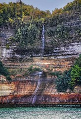 Jasper Falls at Pictured Rocks near Munising Michigan (PhotosToArtByMike) Tags: jasperfalls picturedrocksnationallakeshore michigan mi waterfall picturedrocks upperpeninsulaofmichigan sandstonecliffs munising upperpeninsula up uppermichigan lakesuperior autumn autumnleaves rockycoastline
