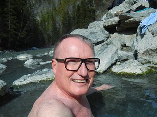 Selfiewhile  enjoying the Lussier River Hot Springs