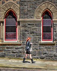 Red Accents (Ian Sane) Tags: ian sane images redaccents church windows woman walking candid street photography downtown portland oregon canon eos 5d mark ii two camera ef70200mm f28l is usm lens