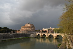 DSC_0324 (dobromirkalchevski) Tags: europe italy rome river tiber st saint angelo bridge fortress michael archangel emperor hadrian coulds dusk day old historic history beautiful scenery castle round graffiti capital city central center tourism vacation visiting building arcs tree park