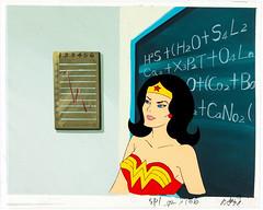 Wonder Woman production cel and background from Super Friends (Tom Simpson) Tags: wonderwoman comics animation cartoons superfriends vintage television vintagetelevision blackboard school classroom