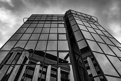 Architecture West End EPMG  (18 of 20) (Philip Gillespie) Tags: architecture edinburgh scotland mono buildings city sky spring form shape angles reflections clouds modern
