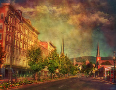 --Sunday morning streets-- (xandram) Tags: northadams ma street spires buildings texturesmyown photoshop