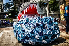 The shark car IMG_5627-1 (matwith1Tphotography) Tags: matwith1t canon eos70d 70d 24105mm artcarparade outdoors colorful sharkcar blue streetphotography