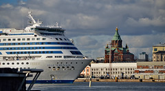 #Helsinki harbour. Silja Serenade & Uspenski Cathedral #Finland #Spring (L.Lahtinen (nature photography)) Tags: helsinki harbour siljaserenade ferry ship laiva uspenskicathedral uspenskinkatedraali finland suomi spring sea eteläsatama cruiseferry cruise helsinkiharbour helsinkistockholm travel matkailu meri nikond3200 nikkor55300mm cityscape harbor port view landscape 7dwf trip flickr nikkor europe exploretheworld
