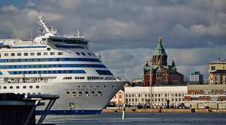 Helsinki harbour. Silja Serenade & Uspenski Cathedral
