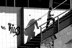 Two by two (pascalcolin1) Tags: paris13 femme woman ombre shadow marches photoderue streetview urbanarte noiretblanc blackandwhite photopascalcolin