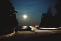 (patrickjoust) Tags: acadianationalpark mountdesertisland maine sea ocean carlighttrails splitroad atlanticocean tree moon fujicagw690 kodakportra160 6x9 medium format 120 rangefinder 90mm f35 fujinon lens film c41 color cable release tripod long exposure night after dark manual focus analog mechanical patrick joust patrickjoust usa us united states north america estados unidos atlantic moonlight full reflection road
