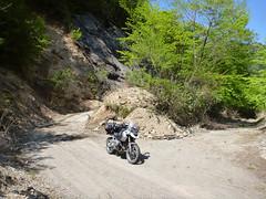 Tonegawa-Mikatakai_Rindou (mega_midget_racer) Tags: blue trees sky mountain tree green nature bike forest offroad bmw motorcycle touring gravel r1200gs