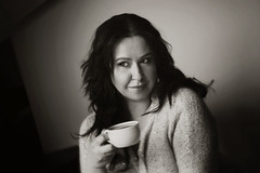 coffee time (locoore) Tags: portrait bw woman black coffee beautiful digital canon photography eos photo nice 300d poland helios