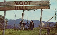 Boot Hill Cemetery Hanging, Ghost Mountain Park, Maggie Valley NC (SwellMap) Tags: vintage advertising death pc 60s dummies fifties postcard kitsch retro nostalgia crime chrome western murder violence amusementpark hanging americana deathvalley 50s tacky roadside dummy themepark sixties frontier midcentury lynching oldwest frontiertown effigies waxmueum