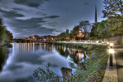 Worcester riverside lighting HDR (AJK Photography) Tags: water river lights evening severn hdr worcester