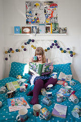 Moomin Madness. (evilibby) Tags: reading bed quilt bright tea books read polkadots moomin moomintroll libby 365 colourful moomins bedframe mybedroom hemma snufkin 365days 3656 moominmugs cablecotton 365days6 moominbooks theteleidoscope cableandcotton