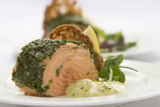 "Herb crusted salmon, served by Royal Opera House Restaurants. Find out more: <a href=""http://www.roh.org.uk/visit/restaurants-and-bars"" rel=""nofollow"">www.roh.org.uk/visit/restaurants-and-bars</a>"